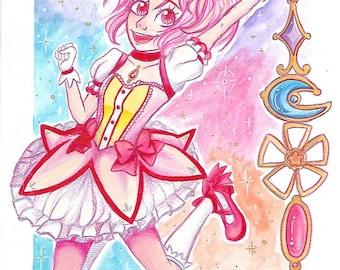 Madoka Magica and Rin Hoshizora original drawings
