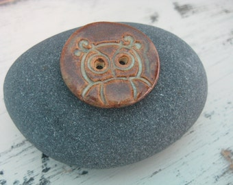 Owl Buttons, Two Ceramic Brown Buttons