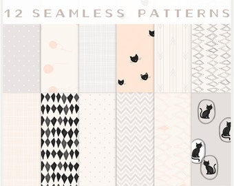Cat Lovers & Others - VECTOR Files - Seamless Patterns - Digital Scrapbook - Paper Pack