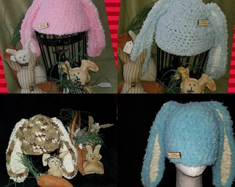 Pattern for Hippity Hoppity Easter Bunny Hat Crochet, Bernat Blanket yarn Easy