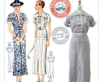 E-PATTERN-Mid 1930's Gina Dress Pattern- 1930s 30s- Wearing History PDF Vintage Sewing Pattern