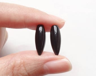 Black Agate Half Top drilled Flat back Fang Tooth Drops 5.5x16 mm One Pair J7682