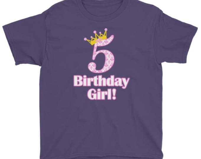 5th Birthday Girl t-shirt, Big 5 with Crown