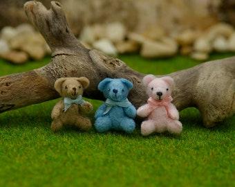 Dolls house miniatures, handmade 1/12th tiny toy teddy bear.