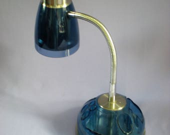 Bedside Lamp, Reading Lamp, Goose Neck Lamp, Desk Lamp, Table Lamp, Blue Lamp, Vintage Home Decor
