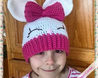 Easter Bunny Rabbit Crochet Hat, girl or boy