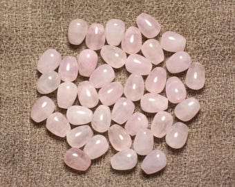 Wire 48pc - stone beads - Rose Quartz drops 8x6mm approx 39cm