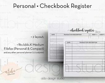 Checkbook Register, Personal Planner, Finance Planner, Money Organizer, Budget Planner, Printable Planner, Monthly Planner, Personal Inserts