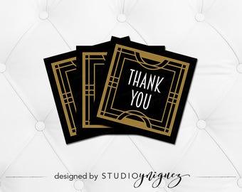 "Art Deco Roarin Twenties Printable Favor Tags, Printable 2.5"" Favor Tags, Art Deco Birthday Thank You Favor Tags"