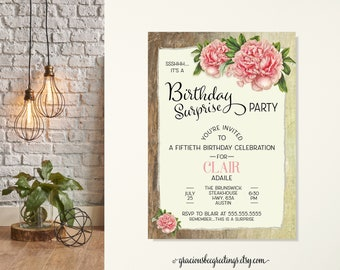 Women's Adult Surprise Birthday Party Invitation, Ladies Birthday Party, Wood Rustic Floral Invitation, 60th, 70th, 80th, 90th Celebration