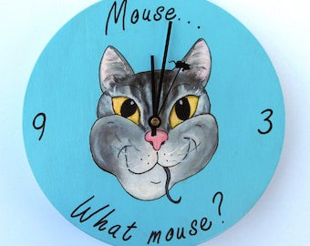"""Hand Painted Cat Clock - Gray Tabby Cat - """"Mouse...What mouse!"""""""