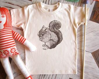 Organic Cotton Toddler Shirt - Screen Printed American Apparel Kids T Shirt - Squirrel Shirt - Kids Clothes - Cotton Tee - You pick size