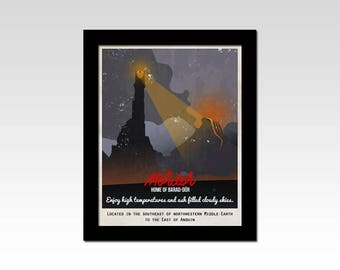 Lord of the Rings inspired Mordor Travel Poster print