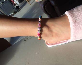 Rainbow power bead anklet