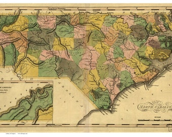 North Carolina 1900 Railroad Map - H.C. Brown - Reprint