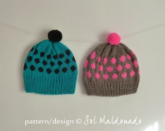 KNIT PATTERN Beanie knitting Pattern - Hat polka dots - baby / Adult 7 sizes - teens girls boy hat - Instant Download Knit pattern hat