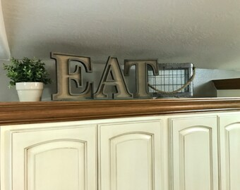 """Wooden Marquee Letters, Laser Cut Wood Letter """"Eat"""" Sign, Letter Sign Wooden Wall Decor, Marquee Style Wood Letter Cutout"""
