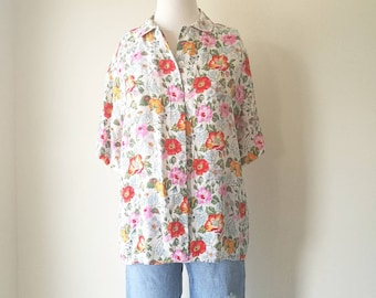 Vintage 1990s floral silk short sleeve shirt  blouse pink oversized