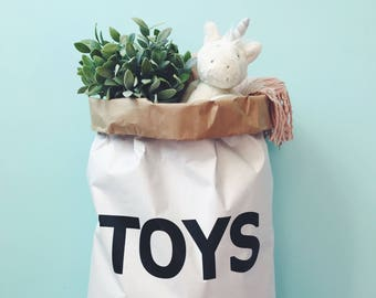 T O Y S  Eco paper bag, kids interior, storage of toys.