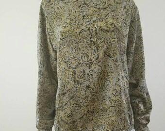 Vintage Paisley Print Blouse, Vintage Print Blouse, Neutral Blouse, Neutral Paisley Blouse, Long Sleeve Shirt, Granny Blouse, 80s Blouse