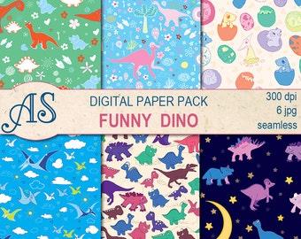 Digital Funny Dino Paper Pack, 6 printable Seamless scrapbooking papers,  dinosaur Digital Collage, kids pattern, Instant Download, set 297