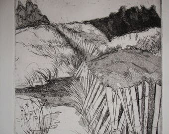 Original Fine Art Etching, Fields