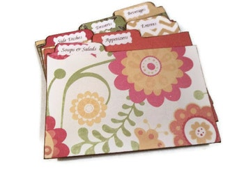 Recipe Tab Dividers STURDY (Set of 6) To Coordinate with My Recipe Boxes 3 x 5 or 4 x 6 MADE To ORDER