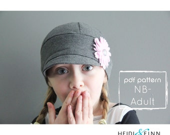 Downtown Hat pattern and tutorial NB-adult easy sew PDF pattern unisex cap