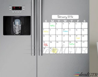 Dry Erase Monthly Calendar Decal for kitchen fridge - refrigerator white board monthly calendar vinyl wall decal - adhesive sticker - D015