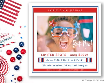 Fourth of July mini session template - patriotic mini session template - Fourth of July mini session  INSTANT DOWNLOAD