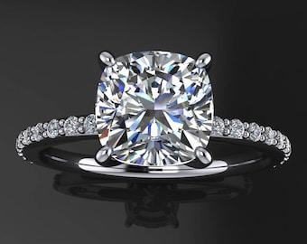 eliza ring - forever one 1.7 carat cushion cut moissanite engagement ring, diamonds, platinum