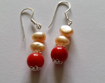 Earrings with coral bead and freshwater pearl nuggets