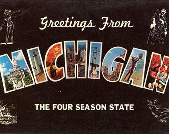 Michigan Four Season State Large Letter Greetings Vintage Postcard (unused)