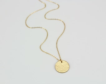 Small Gold Disc, Gold Disc Necklace, Personalized Gold Disc, Customized Gold Disc Necklace, Medium Gold Disc, Layering Necklaces, 13mm,LC101