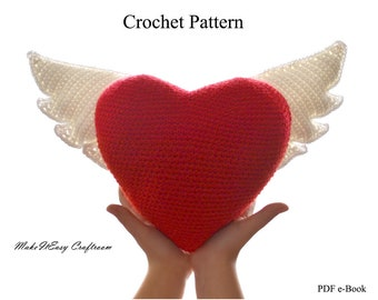Winged heart crochet pattern Heart for Mom Crochet heart cushion Crochet wings Valentine crochet heart with wings Heart pattern PDF