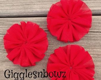 SeT of 3- CHiFFoN TWIRL Flowers 2.5 inch- RED