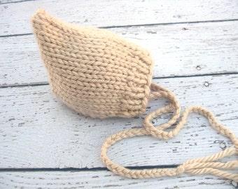 Tan Pixie Gnome Bonnet Knit Baby Photography Prop/ Size 0-12M / Newborn photo session Knit Photo Prop