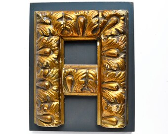 original sign letter, GOLD, letter A, made with vintage salvaged parts  by Elizabeth Rosen