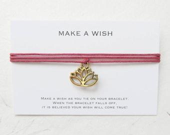 Wish bracelet, make a wish bracelet, lotus bracelet, yoga bracelet, W63