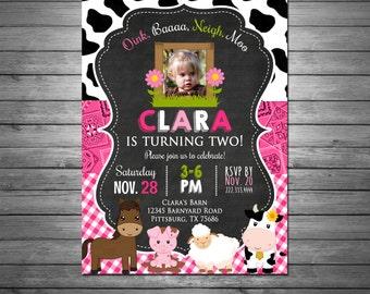 Girls Farm Barnyard Birthday Invitation, Printable File, Farm Animals Invitation, Pink Bandana, Farm Birthday Invitation
