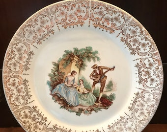 China d'Or by Limoges-American Triumph 22k Gold Serenade TS284  Dinner PlateLimoges American