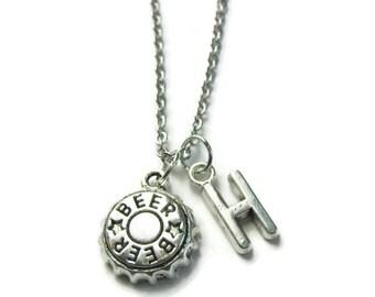 Personalized Beer Cap Necklace, Beer Cap Necklace, Beer Necklace, Drinking Necklace, Alcohol Necklace, Beer Jewelry
