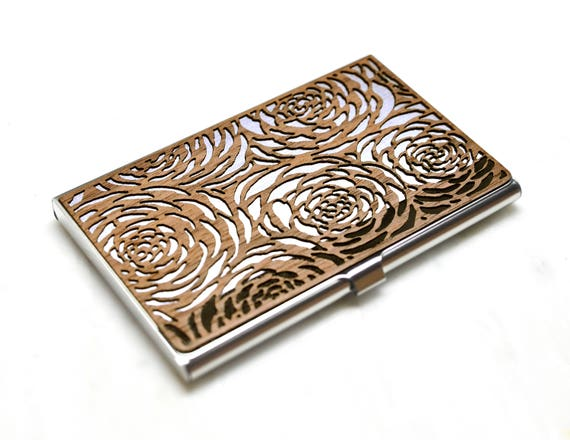 Floral business card case women wood business card case floral business card case women wood business card case womens wallet wood business card holder credit card holder small womens wallet colourmoves