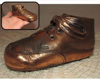 Vintage Bronzed Baby Toddler Shoe, Copper, Infant Keepsake, home décor, collectible