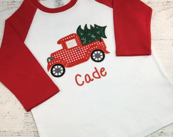 Christmas vintage truck shirt,  Old truck, Christmas Tree truck,  Boy's vintage truck shirt, Boy's Christmas shirt, Boy's Raglan shirt