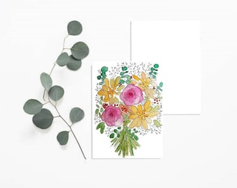 Watercolor Bouquet pink and yellow card
