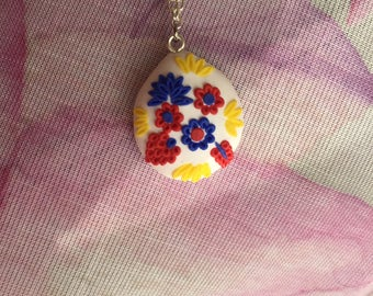 Fimo Flower pendant, spring charm necklace, delicate clay jewels