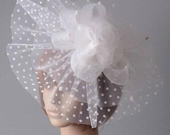 OOAK, Large White Sinamay Flower Head Piece , Wedding Statement Hair Accessory, White Bridal Fascinator, White Fascinator