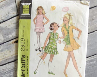 Vintage McCall's Sewing Pattern 2319 Girls' Dress in Three Versions and Scarf size 12