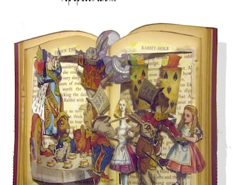 printable Alice in Wonderland Pop-up book page  kit, printable Card Altered art pages collage kit with directions and Pictures